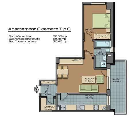 apartament 2 camere tip c barcelona residence 1