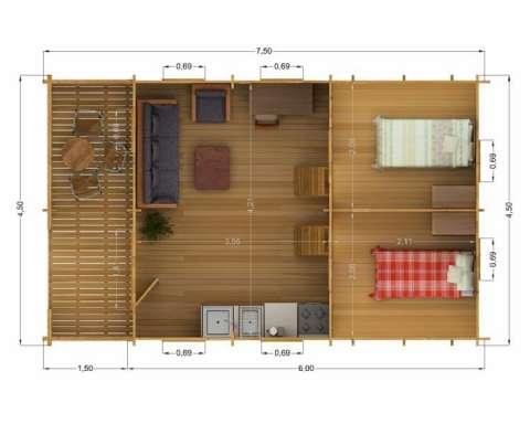 casa din lemn - weekend 4. 5 m 3