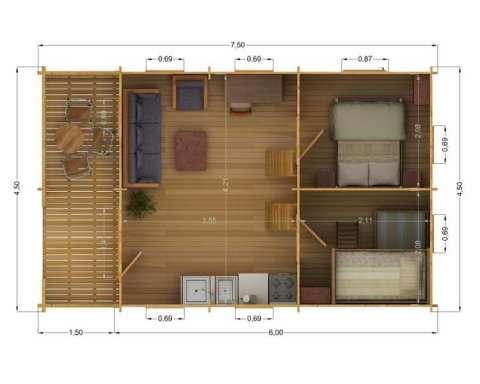 casa din lemn - weekend 4. 5 m 2