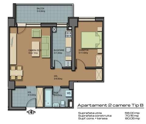 apartament 2 camere tip b barcelona residence 1